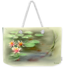 Weekender Tote Bag featuring the painting  Gold Fish Pond by Bonnie Willis