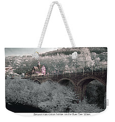 Weekender Tote Bag featuring the photograph  Infrared Train Station Bridge by Beverly Cash