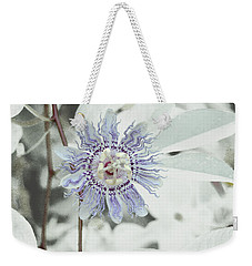 Passion Flower On White Weekender Tote Bag by Tom Wurl