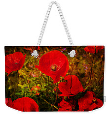 Weekender Tote Bag featuring the photograph  Poppies by Beverly Cash