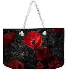 Weekender Tote Bag featuring the photograph  Poppy Red by Beverly Cash
