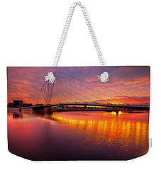 Weekender Tote Bag featuring the photograph  Sunset Over The Quay by Beverly Cash