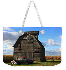 Vintage Cadillac And Barn Weekender Tote Bag by Lyle Hatch