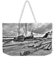 Boats And Logs At Pin Mill  Weekender Tote Bag by Gary Eason
