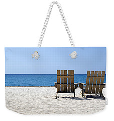 Weekender Tote Bag featuring the photograph Cozumel Mexico Beach Chairs And Blue Skies by Shawn O'Brien