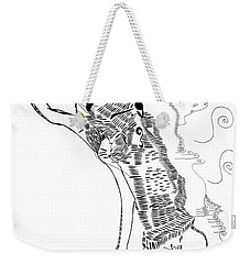 Weekender Tote Bag featuring the drawing Dinka Dance - South Sudan by Gloria Ssali