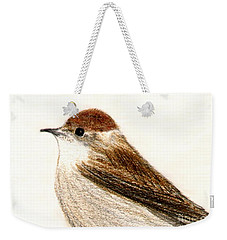 Weekender Tote Bag featuring the drawing Female Blackcap  by Barbara Moignard