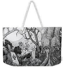 Weekender Tote Bag featuring the drawing In My Garden  by Mariusz Zawadzki