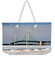 Mackinac Bridge In Winter Weekender Tote Bag