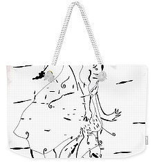 Weekender Tote Bag featuring the drawing Malipenga Dance - Malawi by Gloria Ssali