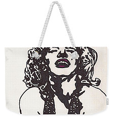 Weekender Tote Bag featuring the drawing Marilyn Monroe by Jeremiah Colley