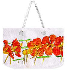 Weekender Tote Bag featuring the drawing Nasturtiums by Barbara Moignard