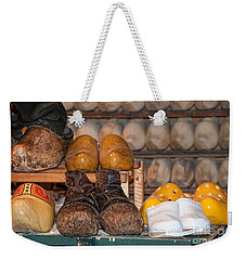 Weekender Tote Bag featuring the digital art Old Wooden Shoes by Carol Ailles
