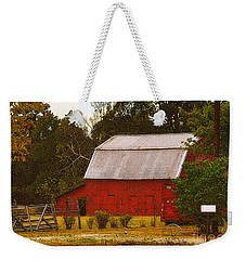 Weekender Tote Bag featuring the photograph Ozark Red Barn by Lydia Holly