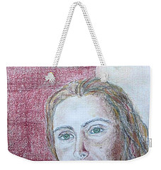 Weekender Tote Bag featuring the drawing Self Portrait by Anna Ruzsan