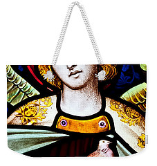 Weekender Tote Bag featuring the photograph Stained Glass Angel by Verena Matthew