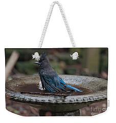 Weekender Tote Bag featuring the digital art Stellar Jay In The Birdbath by Carol Ailles