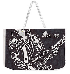 Weekender Tote Bag featuring the drawing Stevie Ray Vaughn by Jeremiah Colley