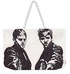 Weekender Tote Bag featuring the drawing The Boondock Saints by Jeremiah Colley