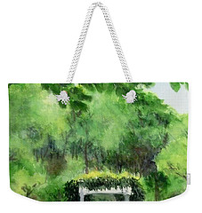 Weekender Tote Bag featuring the painting the garden at the wellers carriage house in Saline  Michigan 1 by Yoshiko Mishina