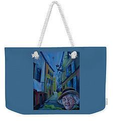 Weekender Tote Bag featuring the painting Travel Notebook. Old Nice by Anna  Duyunova