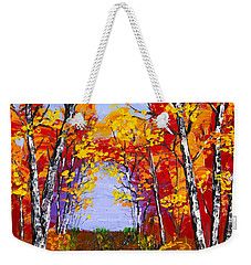White Birch Tree Abstract Painting In Autumn Weekender Tote Bag by Keith Webber Jr