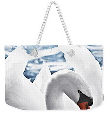White Swan On Water Weekender Tote Bag by Elena Elisseeva