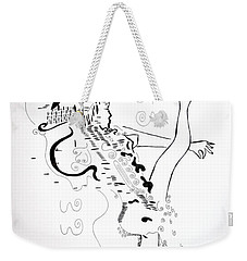 Weekender Tote Bag featuring the drawing Zulu Dance - South Africa by Gloria Ssali