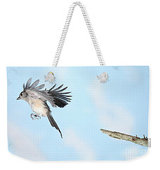 Tufted Titmouse In Flight Weekender Tote Bag by Ted Kinsman