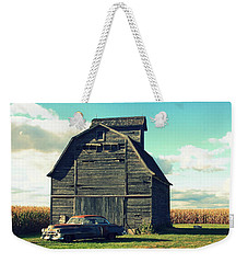 1950 Cadillac Barn Cornfield Weekender Tote Bag by Lyle Hatch