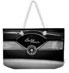 1955 Chevy Bel Air Glow Compartment In Black And White Weekender Tote Bag