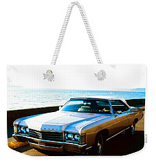 Weekender Tote Bag featuring the photograph 1971 Chevrolet Impala Convertible by Sadie Reneau