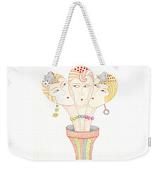 Weekender Tote Bag featuring the painting Flower Pot Ladies by Nareeta Martin