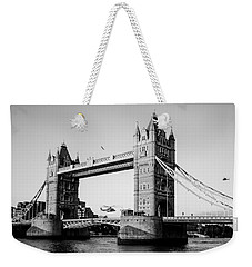 Helicopter At Tower Bridge Weekender Tote Bag by Dawn OConnor