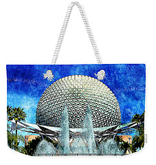 Weekender Tote Bag featuring the digital art Spaceship Earth And Fountain Of Nations by Sandy MacGowan