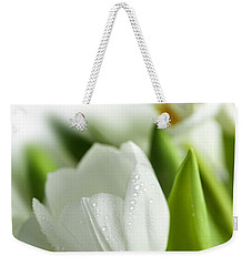 White Tulips Weekender Tote Bag by Nailia Schwarz
