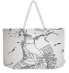 Weekender Tote Bag featuring the drawing Kiganda Dance - Uganda by Gloria Ssali