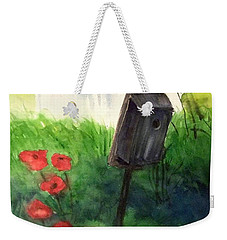 Weekender Tote Bag featuring the painting A Bird House In The Geddes Farm --ann Arbor Michigan by Yoshiko Mishina