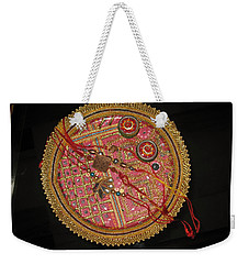 Weekender Tote Bag featuring the photograph A Bowl Of Rakhis In A Decorated Dish by Ashish Agarwal