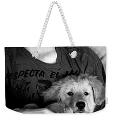 Weekender Tote Bag featuring the photograph A Boy And His Dog by Lorraine Devon Wilke