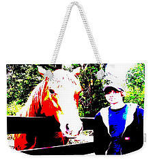 Weekender Tote Bag featuring the photograph a Boy and his Horse by George Pedro