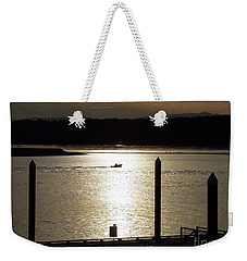 A Lone Boat At Sunset Weekender Tote Bag