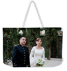Weekender Tote Bag featuring the photograph A Military Wedding by Lorraine Devon Wilke