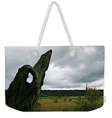 Weekender Tote Bag featuring the photograph A Ok In A Field Of Hay by Lorraine Devon Wilke