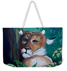 A Slightly Shy Furtive Look Weekender Tote Bag