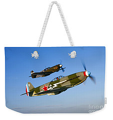 A Soviet Yakovlev Yak-3 And A P-51a Weekender Tote Bag by Scott Germain