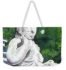 Weekender Tote Bag featuring the painting A Statue At The Wellers Carriage House -1 by Yoshiko Mishina