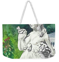 Weekender Tote Bag featuring the painting A Statue At The Wellers Carriage House -2 by Yoshiko Mishina