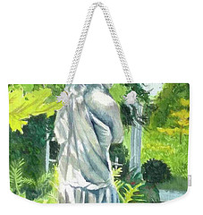 Weekender Tote Bag featuring the painting A Statue At The Wellers Carriage House -3 by Yoshiko Mishina