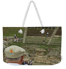 A Tourist And The Ancient Theater Of Taormina Weekender Tote Bag